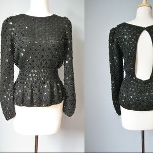 Vintage Evening Sweater Black Beaded Open Back
